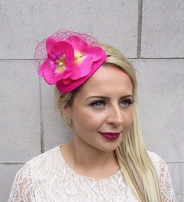 Hot Pink Orchid Flower Fascinator Net Hair Headband Wedding Races Teardrop 3718