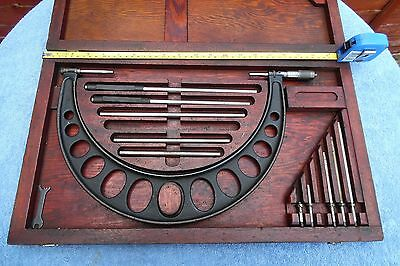 Vintage Brown & Sharpe Micrometer Set Very Large In A Wooden Case