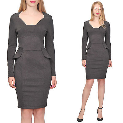 Marycrafts Womens Formal Peplum Pencil Dresses Work Cocktail Gray