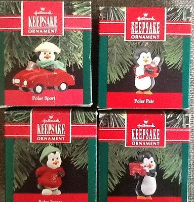 Hallmark 1990 PENGUIN KEEPSAKE ORNAMENTS LOT OF 4 -Polar Sport,Pair,Jogger,Video