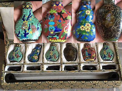 Vintage Chinese 6 Pieces Export Cloisonne Enamel Snuff Bottles With Box & Stands