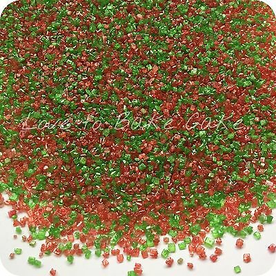 EDIBLE RED & GREEN SPARKLING GLITTER SUGAR CRYSTALS Cupcake Sprinkles 25g-500g