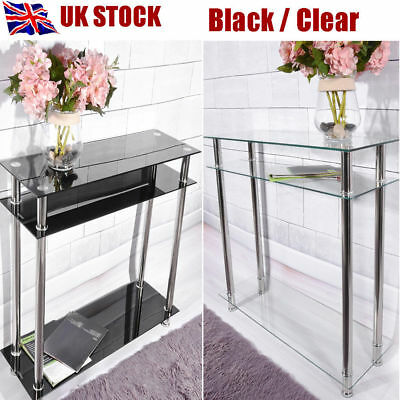 Modern Hall Glass Console Table Shelves Chrome Legs 2 Tier Clear / Black UK