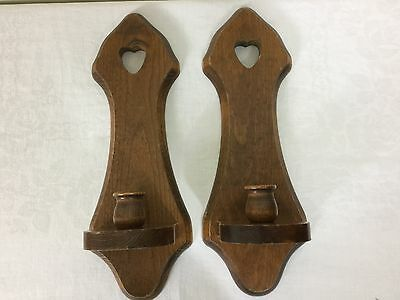 Pair of Home Interiors Country Heart Wood Sconces Candle Holders #HMDC100278