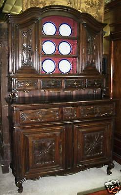 Antique Country French Hand Carved Solid Walnut Buffet Cupboard w Plate Rack