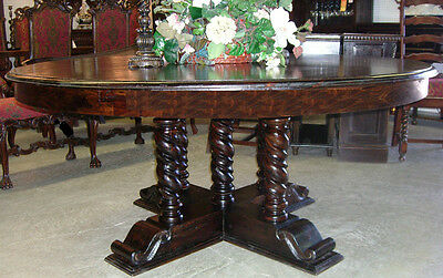 """Antique Style Country French Barley Twist 72"""" Round Solid Hardwood Dining Table"""