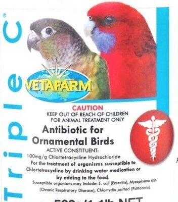 Triple C Antibiotic, Fast Medication Treatment, Pet Birds, Finches, Parrots ect,