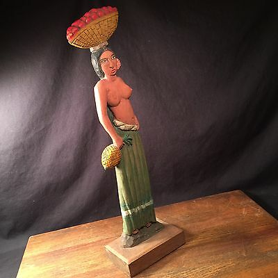 Vintage Statue Woman Pineapple Carved Wood Signed A. Ruiz PRIORITY MAIL