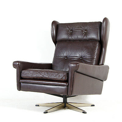Retro Vintage Danish Leather Skippers Mobler Swivel Lounge 70s Armchair Chair