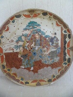 large antique japanese satsuma charger 19th century