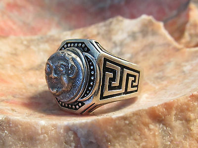 Authentic Ancient Greek Gargoyle Silver Mens Ring!