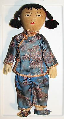 """Chinese Girl Cloth Doll ~ Traditional shirt & pants ~ 11"""" tall - Mid Century toy"""