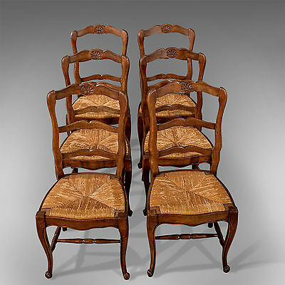 Antique Set of 6 French Oak Kitchen Dining Country Chairs Rush Seats c1900