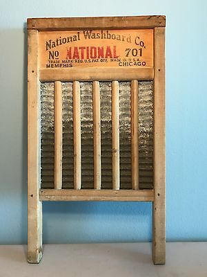 """Vintage Wooden National Washboard Co NATIONAL No.701 """"The Zing King"""" Edition"""