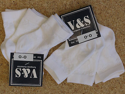 6 Pairs Shiny White Or Pink  Baby Socks 00 Or 0-2.5