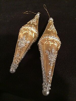 Dept 56 Metallic Tone Glittered Finial Ornament Silver/Gold Two Ornaments