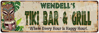 Wendell's TIKI BAR & GRILL Sign Vintage Look 6x18 Metal Wall Décor 6185715