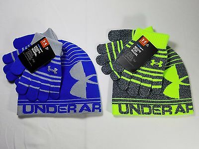 NWT UNDER ARMOUR Youth Boys Knit Beanie & Glove Set M 4-7 yrs Blue or Gray/Neon