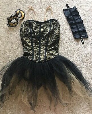 Weissman Black and Gold Ballet Dance Costume Adult Size Medium no Panty with Mas