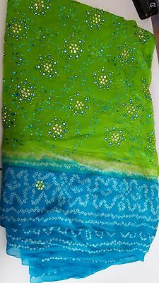 lime/blue wedding saree w/ silver bead and threadwork embroidery.blouse included