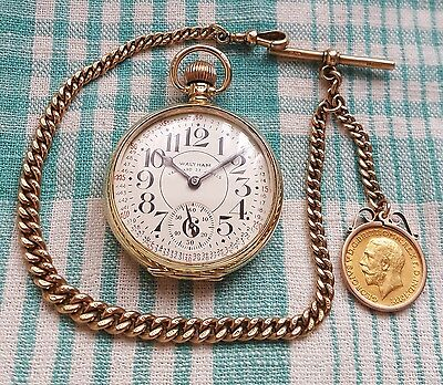 Waltham Vanguard,23 Jewel,9ct Gold Pocket Watch,9ct chain & 1911 Gold Sovereign
