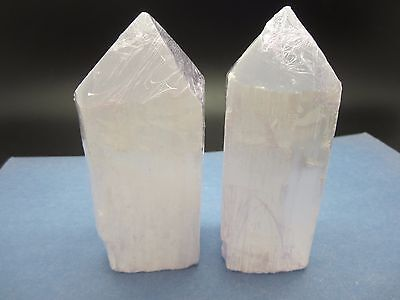 """Lot of (2) SELENITE TOWER Polished / Rough 4 1/2"""" (inch) Morocco 842g"""