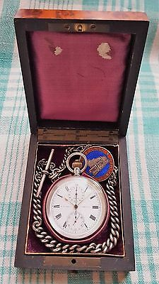 Boxed,1913,Omega, flyback Chronograph,Silver Pocket Watch,Albert chain+Fob Medal
