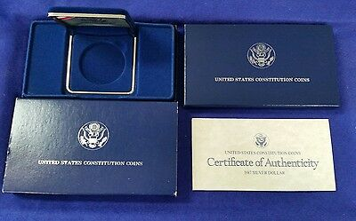 1987 Us Constitution Proof Silver Dollar Empty Box And Coa   **no Coins**