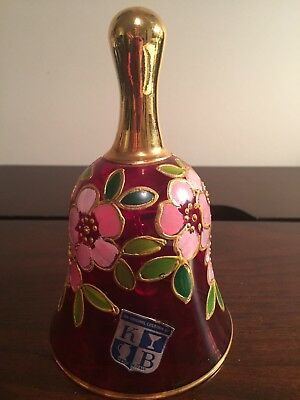 Beautiful Ruby Red Glass Bell - Hand Painted - Raised Floral - Made in Italy