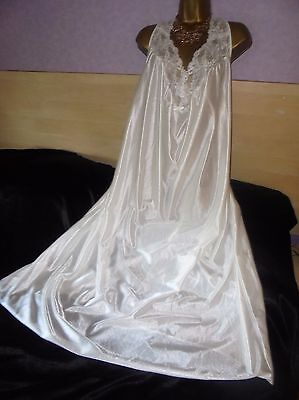 Stunning   vtg Glossy silky nightie dress slip  gown negligee nightdress 24/26/
