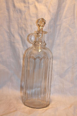 "Antique Cologne Barber Bottle Paneled w Cut Crystal Stopper 11 3/4"" tall"