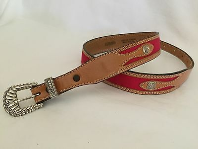 """Wrangler Youth Size 30"""" Leather Western Belt Red Cotton Canvas"""