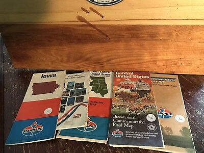 Lot Of 5 Vintage Gas Oil Road Maps Standard Texaco Amoco