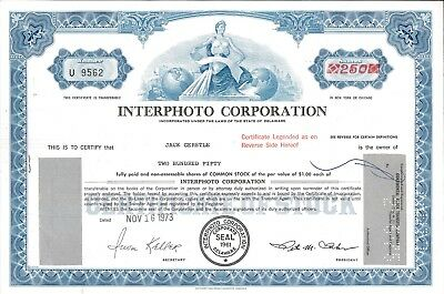 Interphoto Corporation > 1973 old stock certificate share