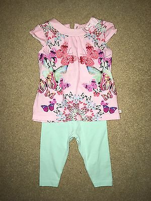 Baby Girls Ted Baker Butterfly Outfit 3-6 Months Top Leggings Bundle Floral Pink
