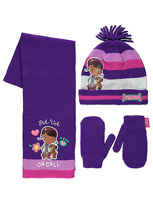 Girls Disney Doc McStuffins Hat Scarf & Mittens Set 1-3 Years  4-6 Years NEW