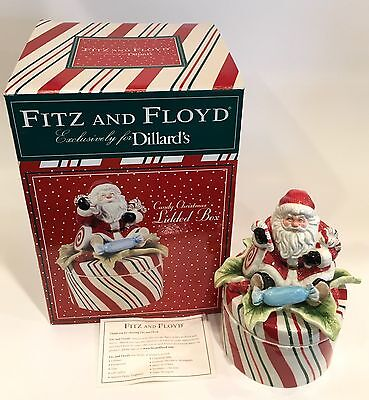 Fitz and Floyd Dillards 'Candy Christmas' 2003 Candy Jar IOB