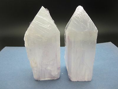 """Lot of (2) SELENITE TOWER Polished / Rough 4 1/2"""" (inch) Morocco 850g"""