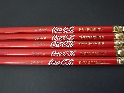 Coca Cola Pencils 5 Red Rounded Refreshing Coke
