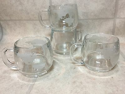 4 NESTLE NESCAFE Vintage 1970's Etched Glass World Globe Coffee Cups Mugs Promo