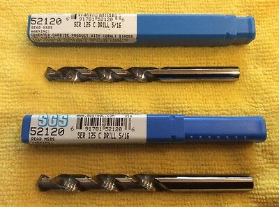 "(Two) Sgs 5/16"" Solid Carbide Drill Bits"
