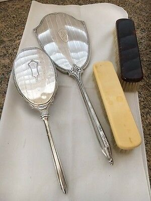 2 Sterling Silver vanity pieces (Brush and Mirror) 2 valet brushes