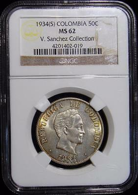 Colombia: Republic 50 Centavos 1934(S), KM274, MS62 NGC.