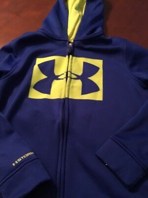 Boys Under Armour Zip Up Hoodie Size Youth Medium Blue/yellow Fast Shipping!