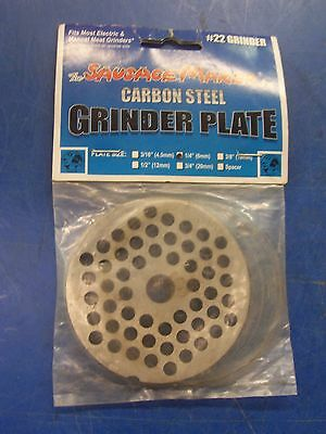 "New #22 Carbon Steel Plate W/1/4"" Holes Meat Sausage Grinder Chopper"