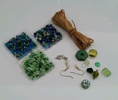 Bead kit with glass beads in green tones