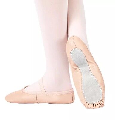 NIB Theatricals #T1000 Full-Sole Leather Ballet Dance Slipper Shoes, PINK
