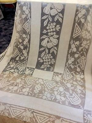 Antique Banquet Tablecloth Hand Knotted Net Filet Lace Italian 1900s 74x146