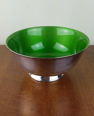 Mid-Century Reed & Barton Silver Plated Enamel Bowl Bright Lime Green #1120