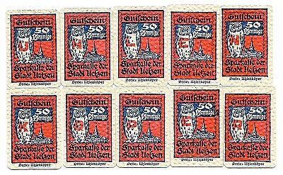 **1921 UELZEN Germany Banknote- RED OWLS ~ Complete Set 50 pf German Notgeld UNC